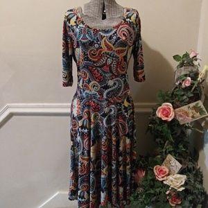 NWOT Lularoe Julia Blue/Red/Yellow Paisley Dress